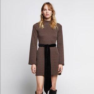 Zara Retro Textured Dress with Belt